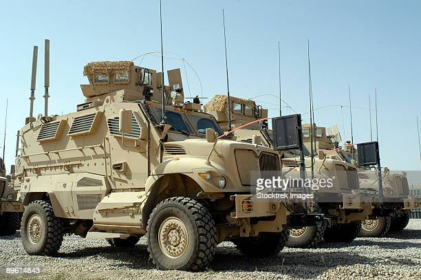 october 7, 2008 - mine resistant ambush protected vehicles sit in the 532nd expeditionary security forces group quick response force parking area at joint base balad, iraq.  - mine resistant ambush protected stock pictures, royalty-free photos & images