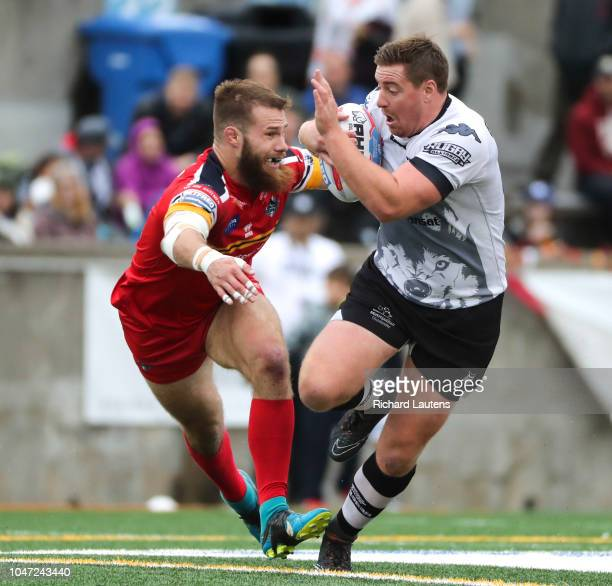 TORONTO ON October 7 Toronto's Jake Emmett and London's Thomas Spencer are in a footrace Emmett lost in the second half The Toronto Wolfpack lost to...