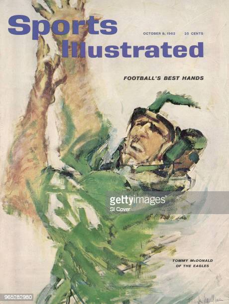 Football Closeup illustration of Philadelphia Eagles Tommy McDonald painting by Art Department New York NY CREDIT Frank Mullins