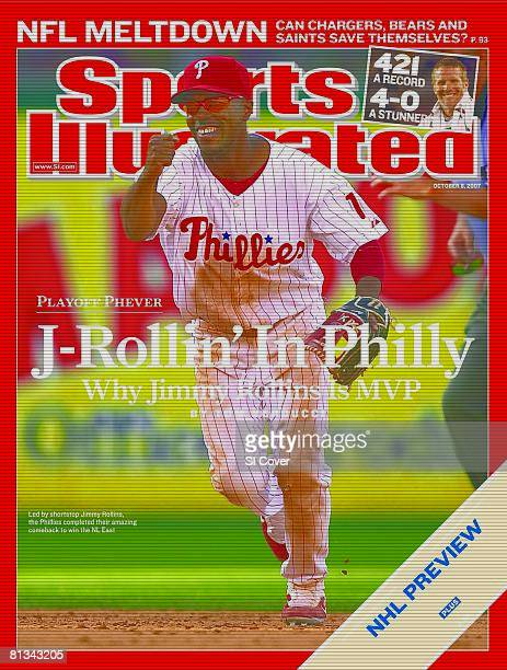 October 8 2007 Sports Illustrated via Getty Images Cover Baseball Philadelphia Phillies Jimmy Rollins victorious after winning game and clinching NL...