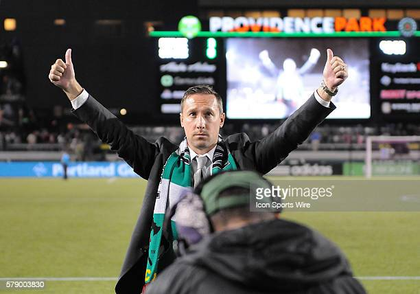 October 8 2014 Portland Timbers head coach Caleb Porter acknowledges fans for their support in a 30 win during a Major League Soccer game between the...