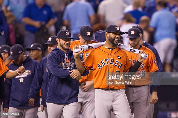 Houston Astros celebrate after winning the MLB Playoff ALDS game 1 between the Houston Astros and the Kansas City Royals at Kauffman Stadium in...