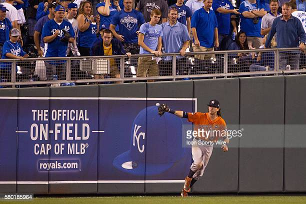 Houston Astros left fielder Colby Rasmus makes the last out during the MLB Playoff ALDS game 1 between the Houston Astros and the Kansas City Royals...
