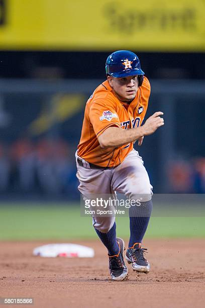 Houston Astros second baseman Jose Altuve heads to third base during the MLB Playoff ALDS game 1 between the Houston Astros and the Kansas City...