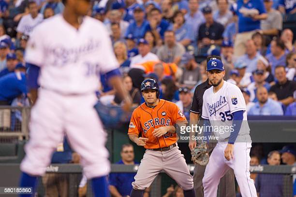Houston Astros second baseman Jose Altuve on first base during the MLB Playoff ALDS game 1 between the Houston Astros and the Kansas City Royals at...