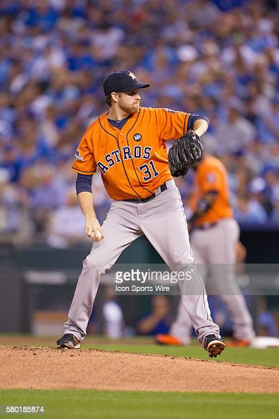 Houston Astros starting pitcher Collin McHugh during the MLB Playoff ALDS game 1 between the Houston Astros and the Kansas City Royals at Kauffman...