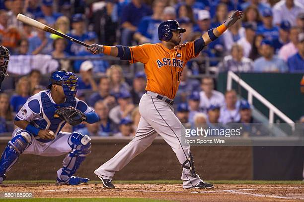 Houston Astros third baseman Luis Valbuena during the MLB Playoff ALDS game 1 between the Houston Astros and the Kansas City Royals at Kauffman...