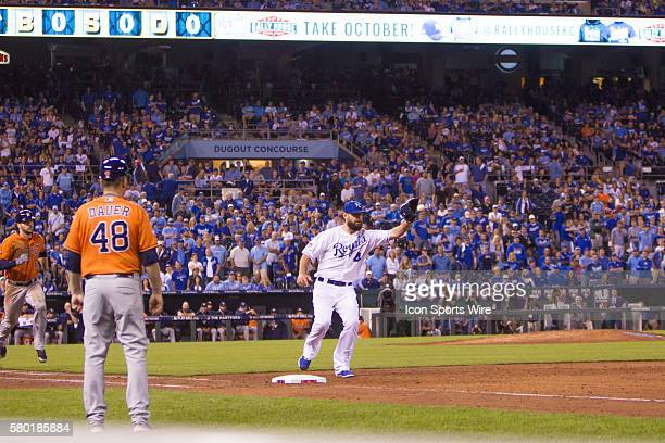 Kansas City Royals left fielder Alex Gordon covers first base during the MLB Playoff ALDS game 1 between the Houston Astros and the Kansas City...