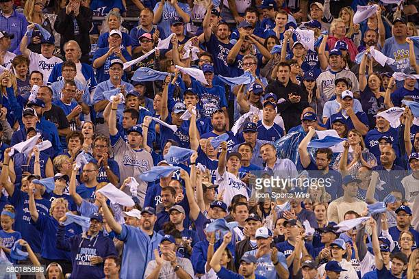Kansas City Royals swing towels trying to rally during the MLB Playoff ALDS game 1 between the Houston Astros and the Kansas City Royals at Kauffman...