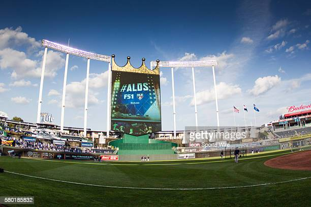 KC Crown during the MLB Playoff ALDS game 1 between the Houston Astros and the Kansas City Royals at Kauffman Stadium in Kansas City Missouri