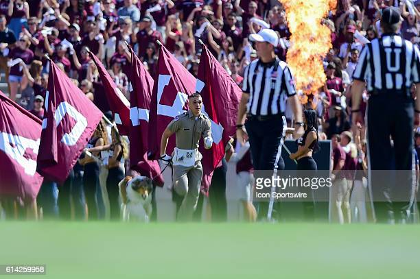 Aggie Mascot, Reveille IX leads the team onto the field before the Tennessee Volunteers vs Texas A&M Aggies game at Kyle Field, College Station,...