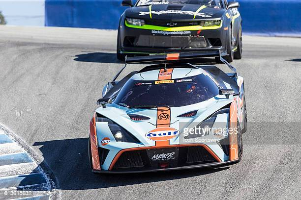 Anthony Mantella in a GTS Class KTM XBow GT4 at the corkscrew during race of the Pirelli World Challenge GTS races held at Mazda Raceway Laguna Seca...