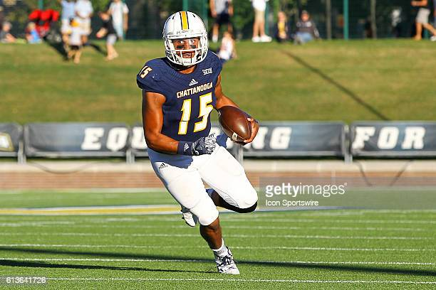 Chattanooga Mocs quarterback Alejandro Bennifield in action during the NCAA football game between UT Chattanooga and Mercer University Chattanooga...