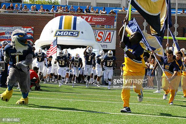 Chattanooga Mocs take the field before the NCAA football game between UT Chattanooga and Mercer University Chattanooga remains undefeated at 6 0...