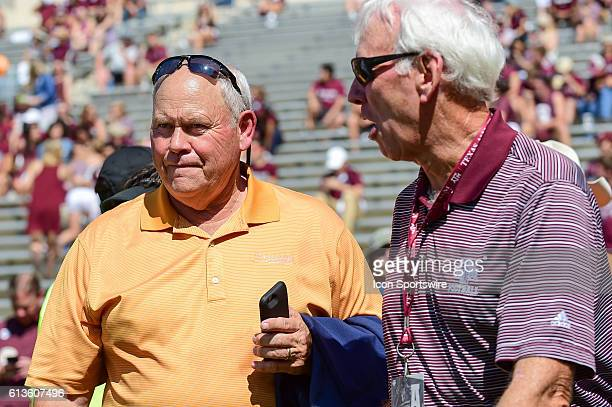 Former Tennessee coach Phillip Fulmer and former Texas A&M coach R.C. Slocum chat before the Tennessee Volunteers vs Texas A&M Aggies game at Kyle...
