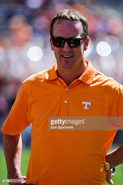 Former Volunteer quarterback Peyton Manning was on hand during the Tennessee Volunteers vs Texas A&M Aggies game at Kyle Field, College Station,...