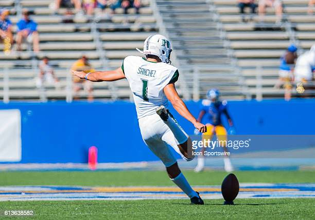 Hawaii Warriors place kicker Rigoberto Sanchez kicks off the ball to San Jose State Spartans during the Mountain West Conference game between San...