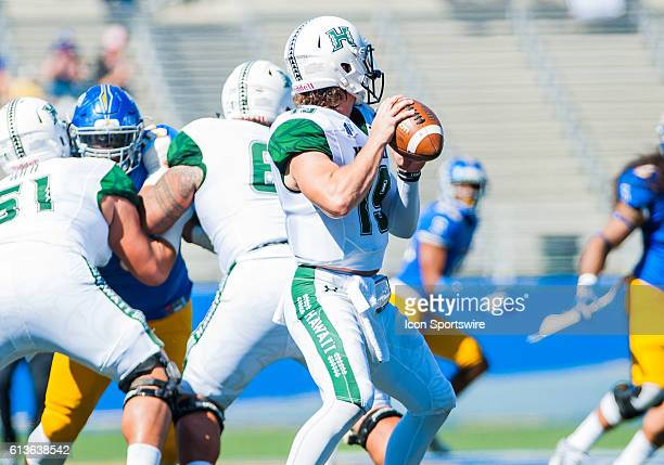 Hawaii Warriors quarterback Dru Brown during the Mountain West Conference game between San Jose State Spartans verses the Hawaii Warriors at CEFCU...