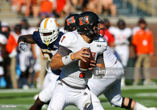 Mercer Bears quarterback John Russ looks to throw the ball during the second half of the NCAA football game between UT Chattanooga and Mercer...