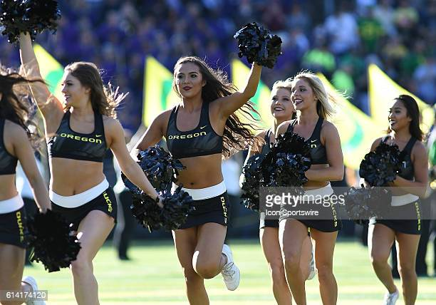 Oregon cheerleaders during a PAC12 Conference NCAA football game between the University of Oregon Ducks and University of Washington Huskies at...