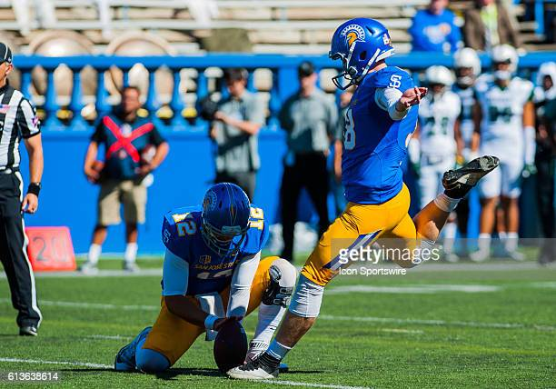 San Jose State Spartans place kicker Bryce Crawford makes an extra point during the Mountain West Conference game between San Jose State Spartans...