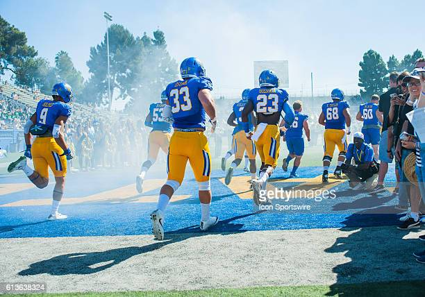 San Jose State Spartans players run onto the field prior to the Mountain West Conference game between San Jose State Spartans verses the Hawaii...