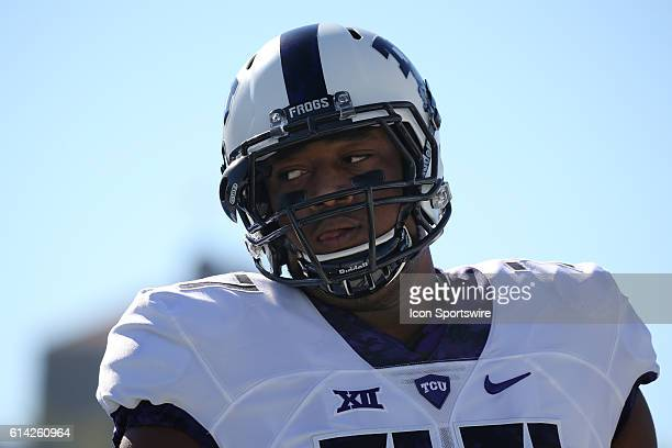TCU Horned Frogs offensive lineman Lucas Niang before a Big 12 matchup between the TCU Horned Frogs and Kansas Jayhawks at Kivisto Field at Memorial...