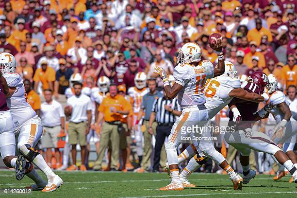 Tennessee Volunteers quarterback Joshua Dobbs looks to throw downfield during the Tennessee Volunteers vs Texas A&M Aggies game at Kyle Field,...
