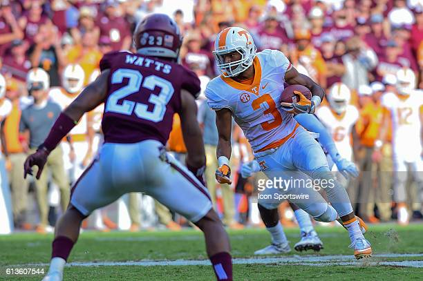 Tennessee Volunteers wide receiver Josh Malone turns up field after making a catch during the Tennessee Volunteers vs Texas A&M Aggies game at Kyle...