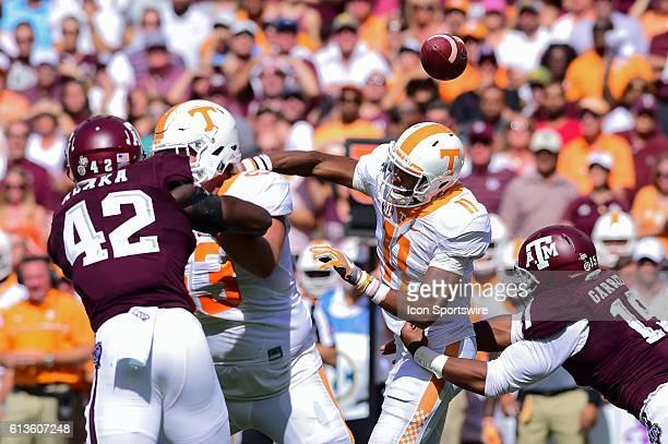 Texas A&M Aggies defensive lineman Myles Garrett forces a fumble on Tennessee Volunteers quarterback Joshua Dobbs during the Tennessee Volunteers vs...