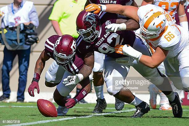 Texas AM Aggies defensive lineman Zaycoven Henderson dives for a loose ball during the Tennessee Volunteers vs Texas AM Aggies game at Kyle Field...