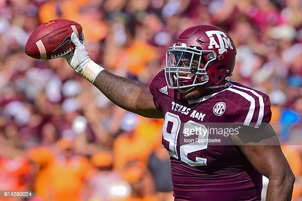 Texas AM Aggies defensive lineman Zaycoven Henderson celebrates a fumble recovery during the Tennessee Volunteers vs Texas AM Aggies game at Kyle...