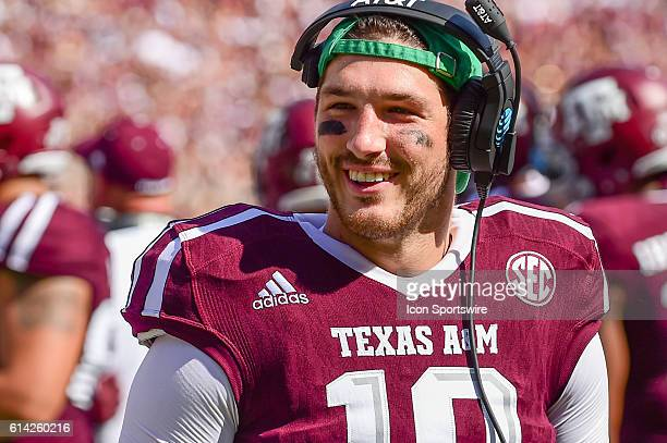 Texas A&M Aggies quarterback Jake Hubenak during the Tennessee Volunteers vs Texas A&M Aggies game at Kyle Field, College Station, Texas.