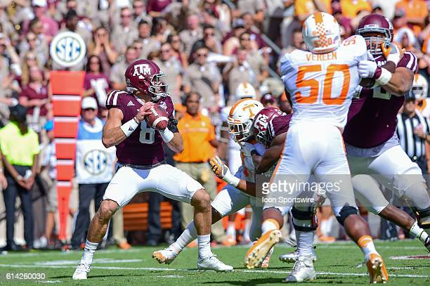 Texas A&M Aggies quarterback Trevor Knight climbs the pocket during the Tennessee Volunteers vs Texas A&M Aggies game at Kyle Field, College Station,...