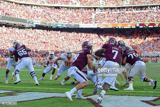 Texas AM Aggies quarterback Trevor Knight runs a play action pass from his own end zone resulting in a 38 yard completion to Texas AM Aggies wide...