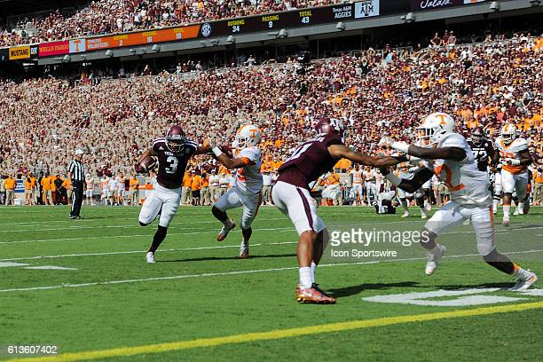 Texas A&M Aggies wide receiver Christian Kirk stiff arms his way to the end zone for a first half touchdown during the Tennessee Volunteers vs Texas...