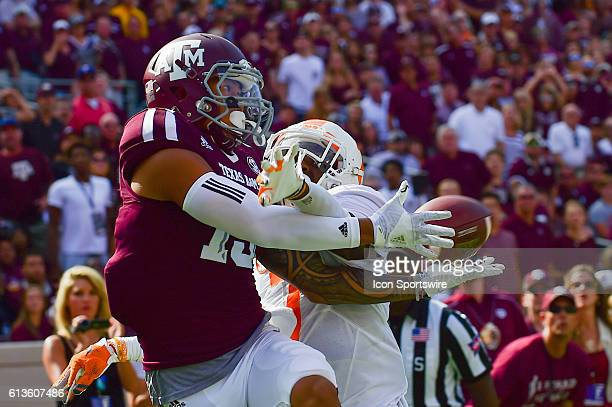 Texas AM Aggies wide receiver Jeremy Tabuyo makes an incredible first half touchdown catch but was ruled out of bounds during the Tennessee...