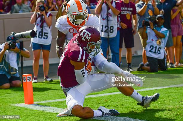 Texas A&M Aggies wide receiver Jeremy Tabuyo makes an incredible catch during the Tennessee Volunteers vs Texas A&M Aggies game at Kyle Field,...