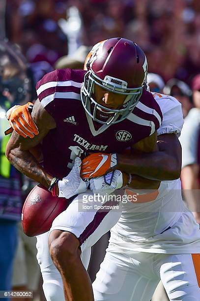 Texas AM Aggies wide receiver Josh Reynolds hauls in a long ball as Tennessee Volunteers defensive back Baylen Buchanan defends during the Tennessee...