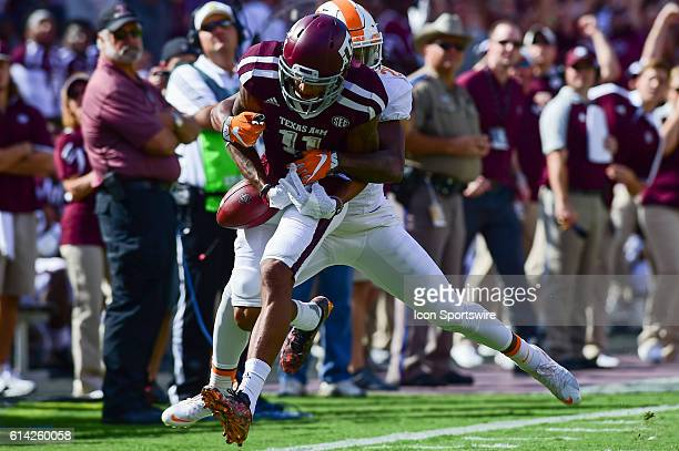 Texas AM Aggies wide receiver Josh Reynolds maintains control of a long ball as Tennessee Volunteers defensive back Baylen Buchanan defends during...