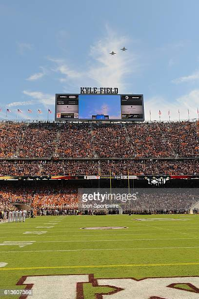 Two Navy F18 hornets fly over Kyle Field during the National Anthem before the Tennessee Volunteers vs Texas AM Aggies game at Kyle Field College...