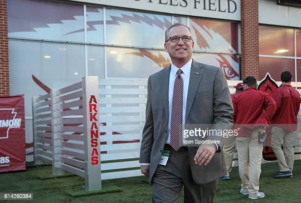 University of Arkansas Director of Athletics Jeff Long watches pregame activities before the game between The University of Alabama Crimson Tide and...