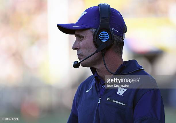 University of Washington head coach Chris Petersen on the sideline during a PAC-12 Conference NCAA football game between the University of Oregon...