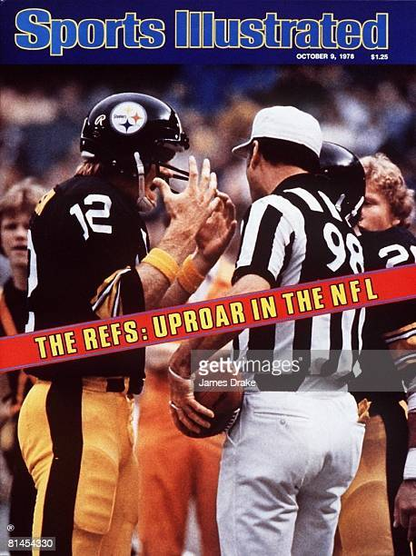 October 9 1978 Sports Illustrated Cover Football Pittsburgh Steelers QB Terry Bradshaw upset with referee during game vs Cleveland Browns Pittsburgh...