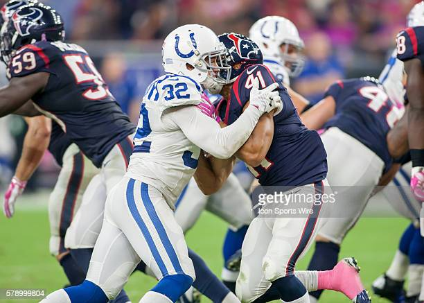 Indianapolis Colts Safety Colt Anderson and Houston Texans Running Back Jonathan Grimes during the NFL game between the Indianapolis Colts and the...