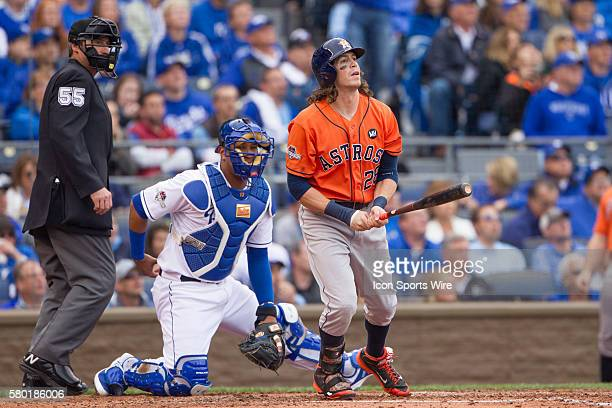 Houston Astros left fielder Colby Rasmus after hitting a home run during the MLB Playoff ALDS game 2 between the Houston Astros and the Kansas City...