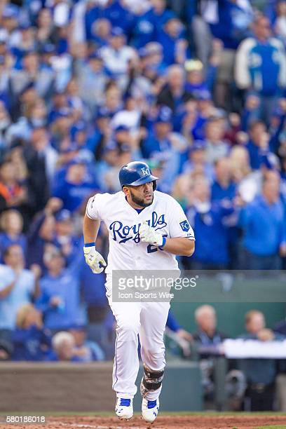 Kansas City Royals designated hitter Kendrys Morales during the MLB Playoff ALDS game 2 between the Houston Astros and the Kansas City Royals at...