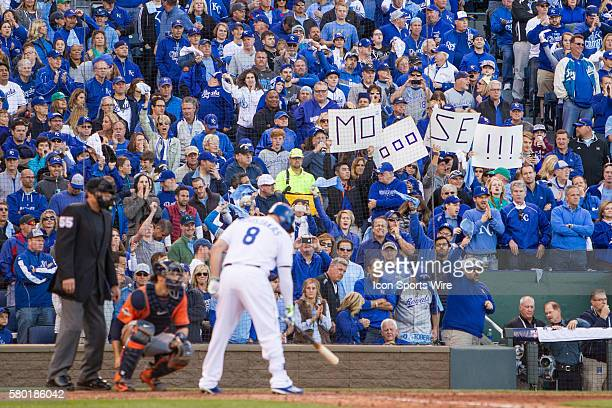 Kansas City Royals fans cheer on Kansas City Royals third baseman Mike Moustakas during the MLB Playoff ALDS game 2 between the Houston Astros and...