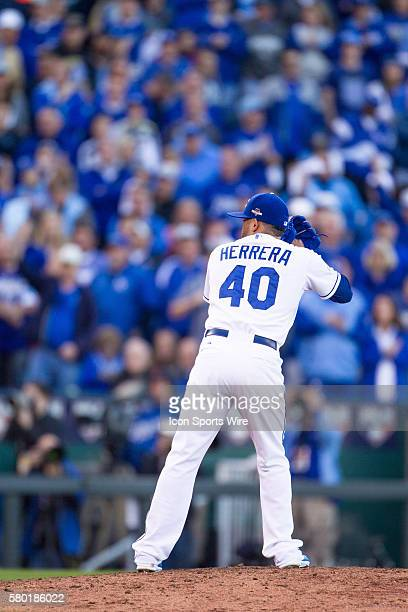 Kansas City Royals relief pitcher Kelvin Herrera during the MLB Playoff ALDS game 2 between the Houston Astros and the Kansas City Royals at Kauffman...