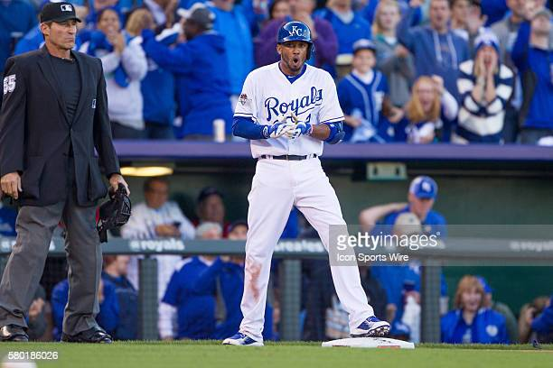 Kansas City Royals shortstop Alcides Escobar after hitting a triple during the MLB Playoff ALDS game 2 between the Houston Astros and the Kansas City...